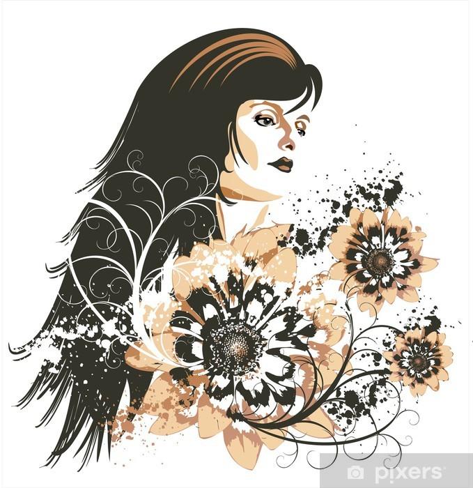 Naklejka Pixerstick Dziewczyna na tle kwiatów grunge - Dom i ogród