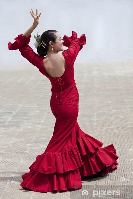 Fototapet av Vinyl Traditionell kvinna spanska flamencodansare i röd klänning - Teman