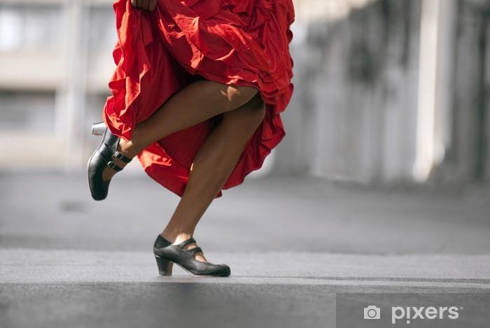 Nálepka Pixerstick Flamenco Dancer nohy v červených šatech - Zábava