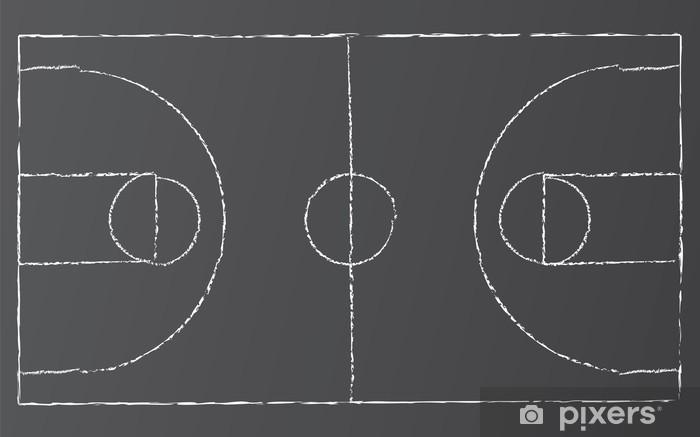 Naklejka Pixerstick Wektorowa Basketball Court - Sporty drużynowe
