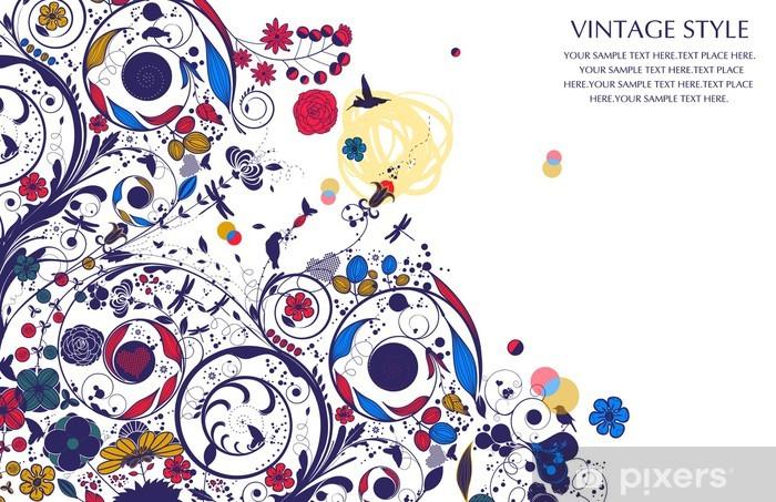 Sticker Pixerstick Fleur vintage - Art et création