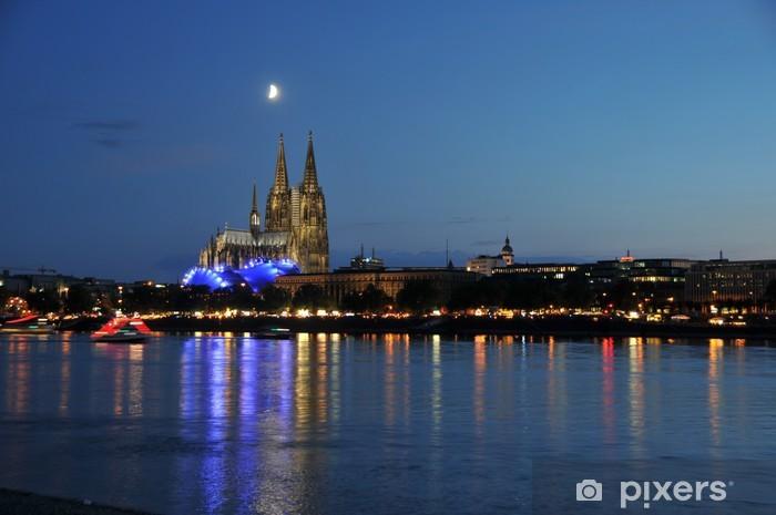 Fototapeta winylowa Skyline Cologne - Kolonia w nocy - Tematy