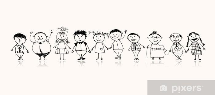 Fototapeta winylowa Z okazji Wielka rodzina uśmiecha się razem, rysunek szkic - Wartości rodzinne