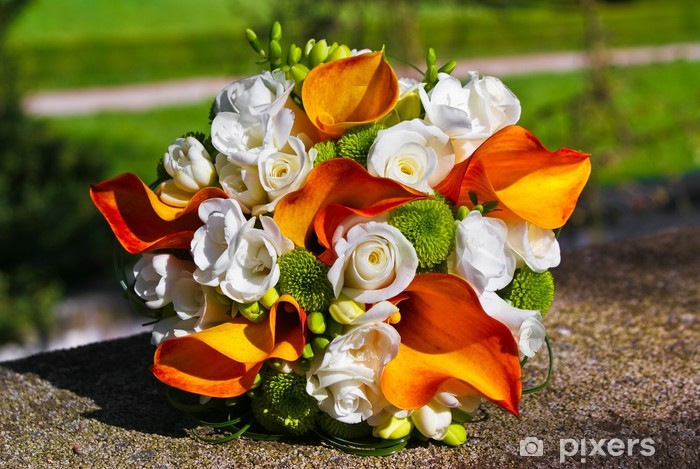 Bouquet Sposa Arancione.Bridal Bouquet With White Roses And Orange Callas Wall Mural