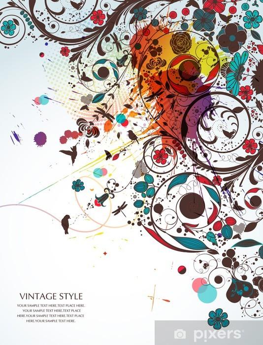 vintage flower-love Vinyl Wall Mural - Happiness