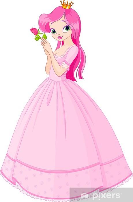 Sticker Pixerstick Belle princesse de rose - Sticker mural