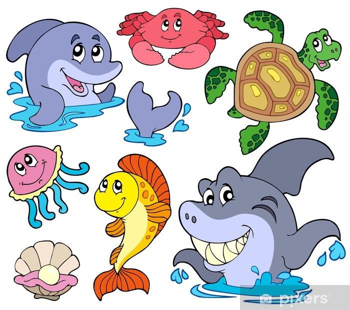 Papier peint vinyle Collection d'animaux marins - Sticker mural