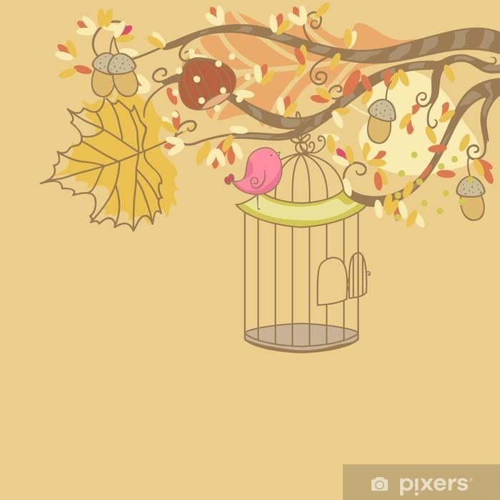 Plakat Karta jesień z ptakiem i Birdcage - Pory roku