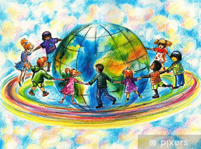 Children Of Different Races Hugging The Planet Earth Wall