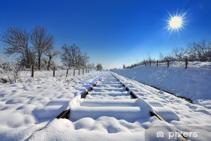 Vinylová fototapeta Železnice v zimě - Vinylová fototapeta