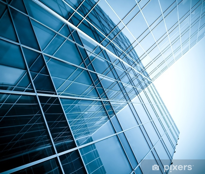 Papier peint vinyle Silhouettes de verre modernes de gratte-ciel de nuit - Business