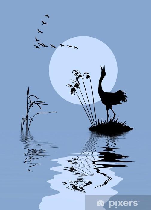 Fototapeta winylowa Sylwetki ptaków na jeziorze - Tematy
