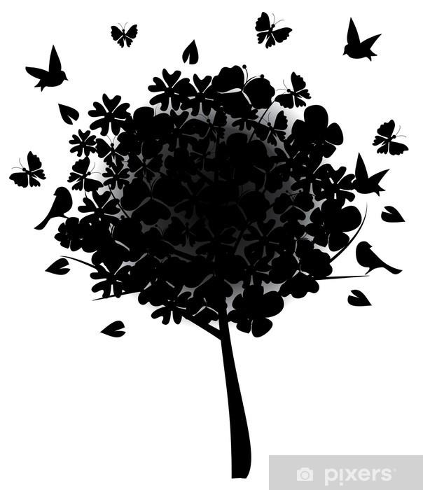 Vinyl-Fototapete Blumenbaumschatten - Bäume