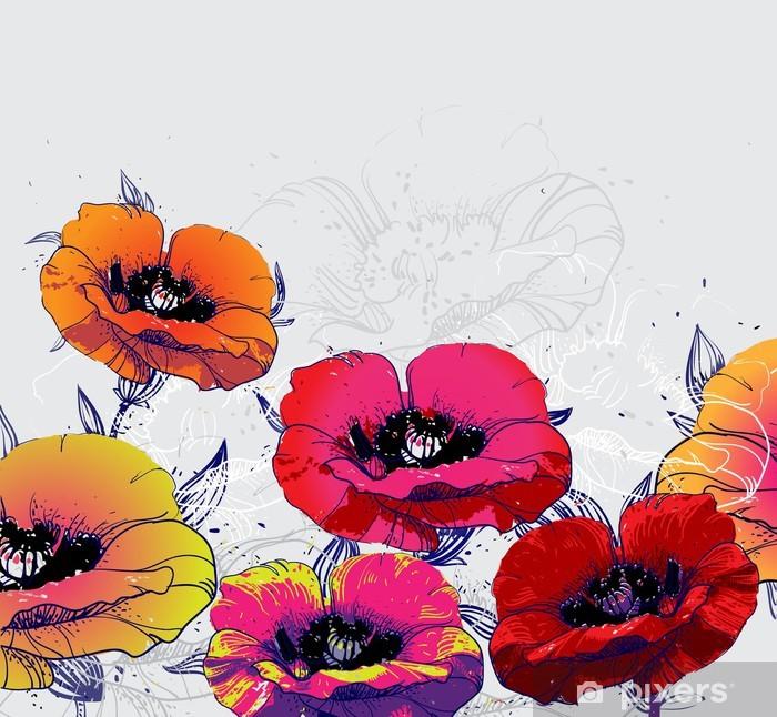 Poster Sommer-Feld mit blühenden Mohnblumen - Themen