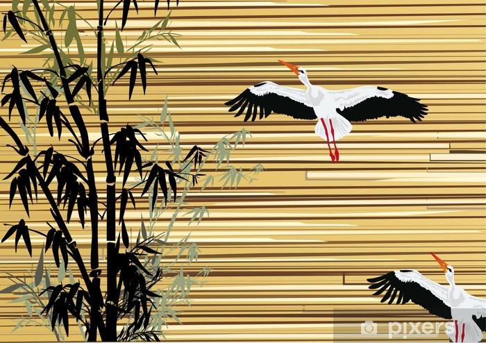 Fototapeta winylowa Bambus i bociany na drewnianym tle - Style