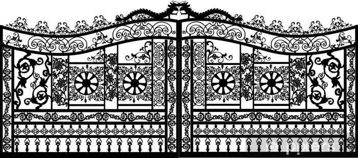 Sticker Pixerstick Noir porte décorée sur blanc - Monuments