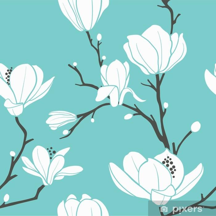 Plakat w ramie Niebieski wzór magnolii - Tematy
