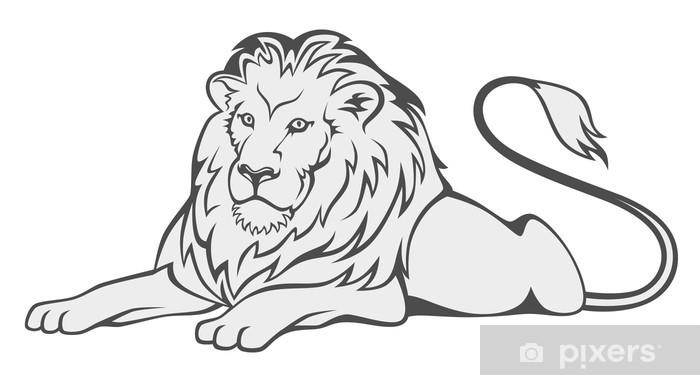 Sticker Pixerstick Gris lion - Mammifères