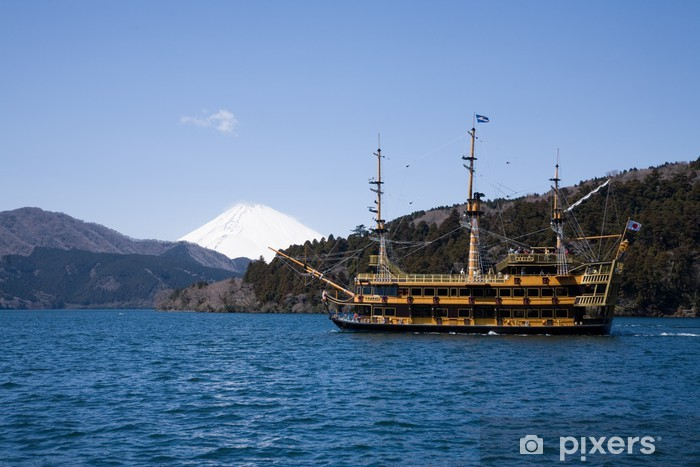 Nálepka Pixerstick 富士山 と 遊 覧 船 - Prázdniny