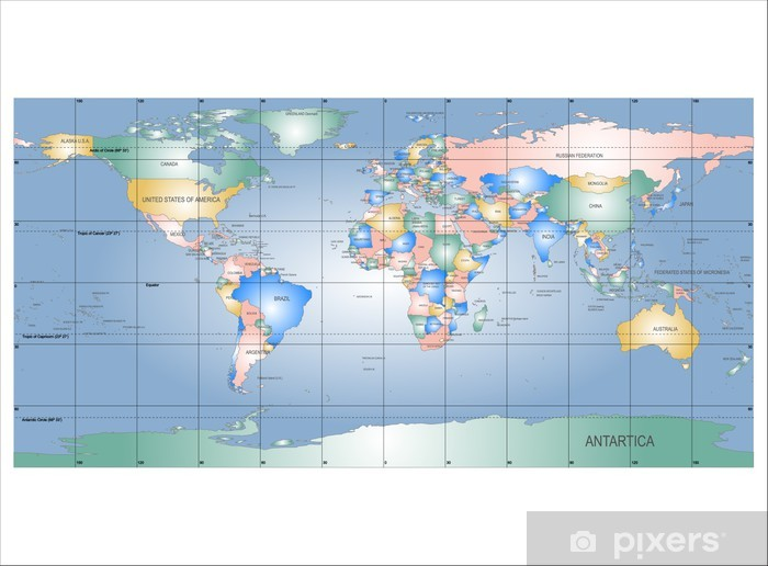 Detailed World Map With Names Of Countries Vector Isolated By G