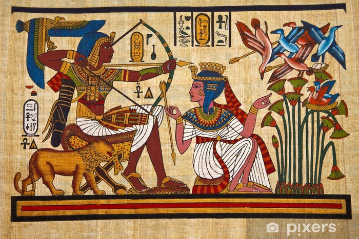 Antique egyptian papyrus and hieroglyph Pixerstick Sticker - iStaging