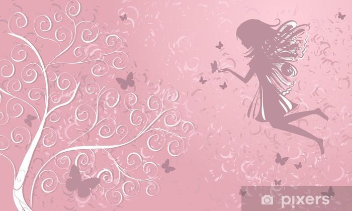 Fairy with butterflies near a tree Vinyl Wall Mural - Destinations