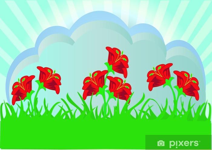 Vinylová fototapeta Bylina s červenou květinu - Vinylová fototapeta
