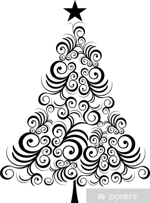 fototapete weihnachtsbaum schwarzer umriss pixers wir. Black Bedroom Furniture Sets. Home Design Ideas