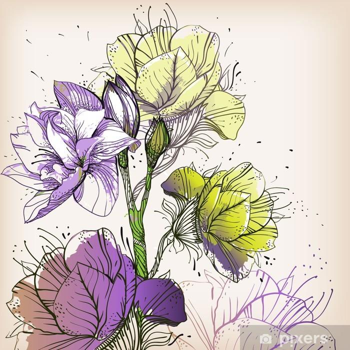 Papier peint vinyle Floraison branche avec fleurs colorées - Saisons