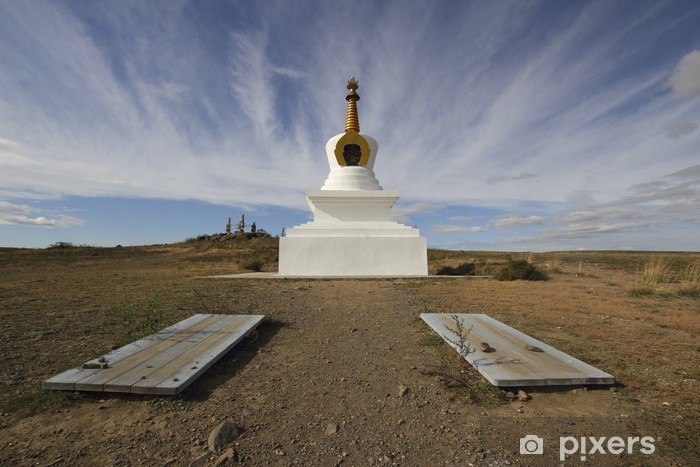 Vinyl-Fototapete Stein für eine beten gegen den Himmel, Kyzyl, Tuva, Russland - Religion