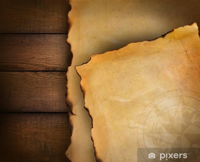 Sticker Pixerstick Gros plan de papier parchemin sur bois - Arrière plans
