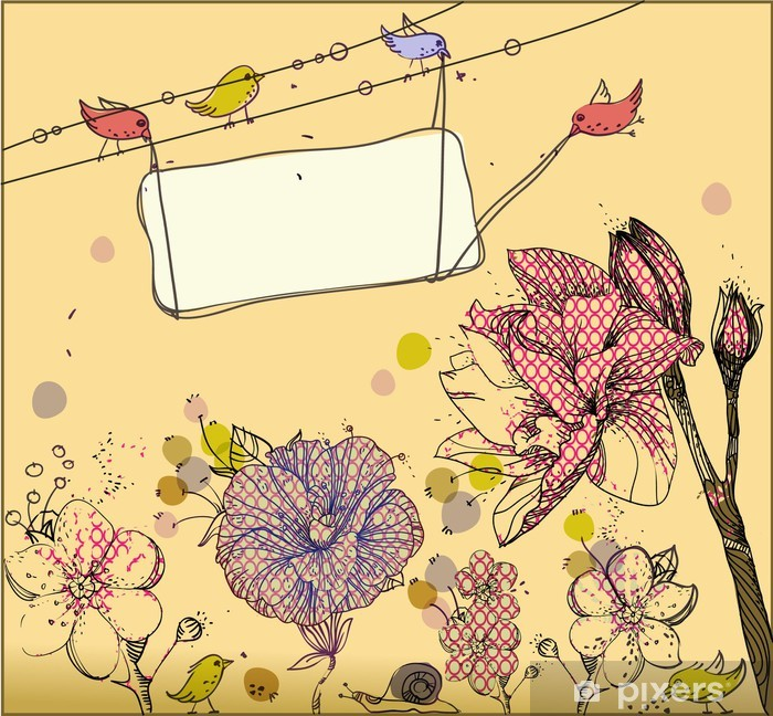 Naklejka Pixerstick Ręcznie rysowane tła z kwiatów i ptaków - Pory roku