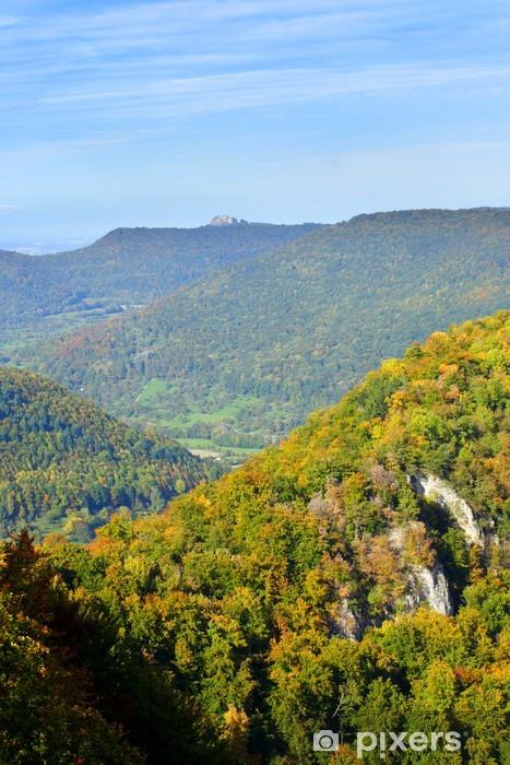 Naklejka Pixerstick Szwabski Alb w październiku, Ermstal, Hohenneuffen (ruiny) - Pory roku