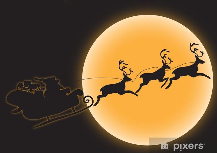 Nálepka Pixerstick Weihnachtsmann mit Schlitten und Rentieren. - Mezinárodní svátky