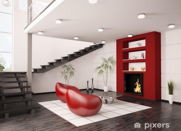Sticker Pixerstick Moderne salle intérieure avec cheminée et escalier rendu 3d - Propriétés privées