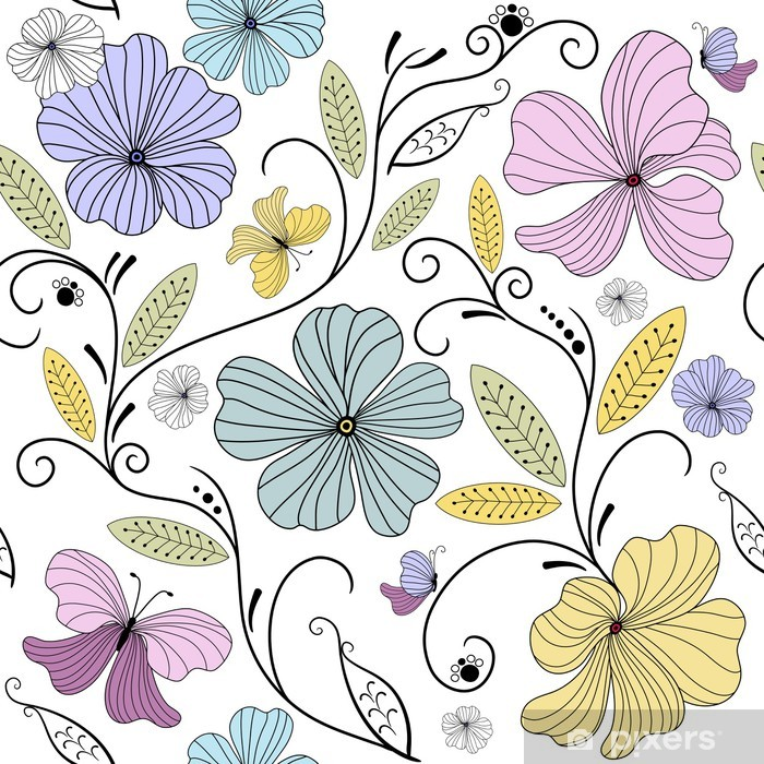 Pastel seamless floral pattern Pixerstick Sticker - Backgrounds