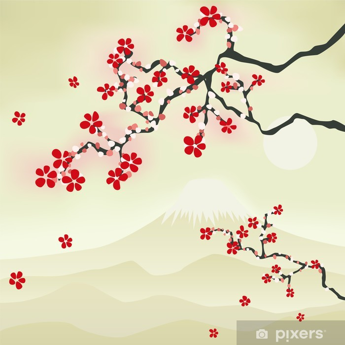 Naklejka Pixerstick Japoński kwiat wiśni - Style