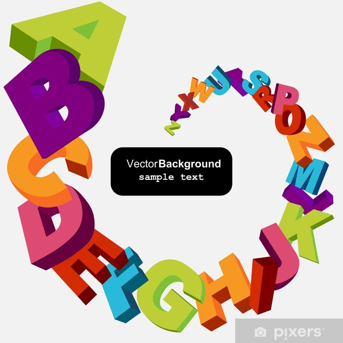 colorful 3d alphabet letters vector background Pixerstick Sticker - Themes