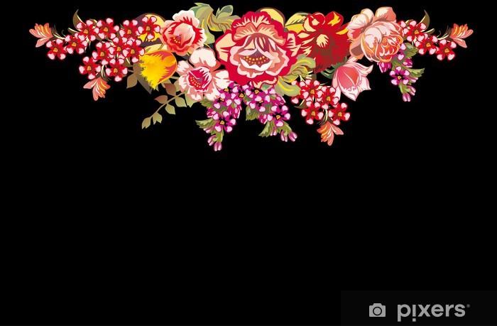 Papier peint vinyle Conception avec des fleurs rouges sur fond noir différents - Fleurs