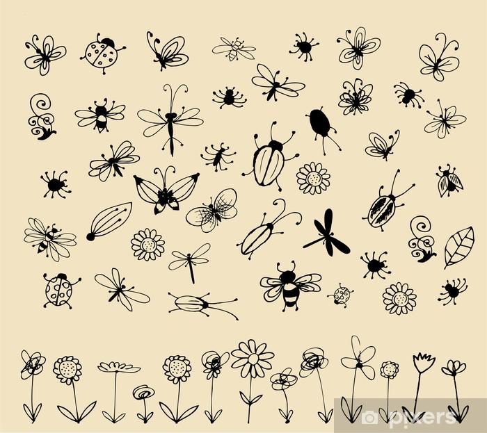 Fototapeta winylowa Kolekcja owadów szkic do projektowania - Inne Inne
