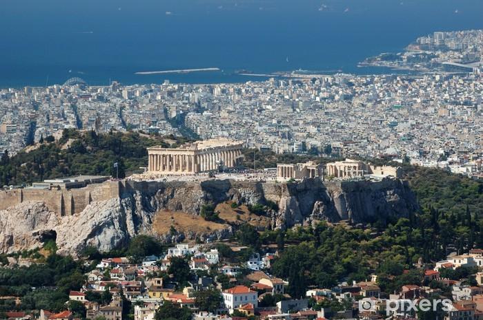 Fotomural Estándar Vista de la Acrópolis desde Lykavittos colina - el punto más alto de Atenas - Temas