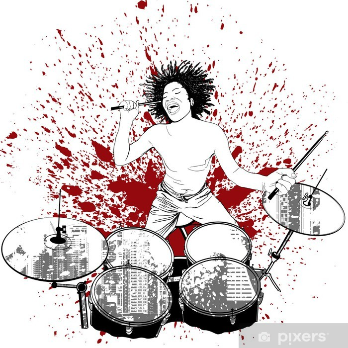 Vinyl Fotobehang Drummer op grunge achtergrond - Muziek