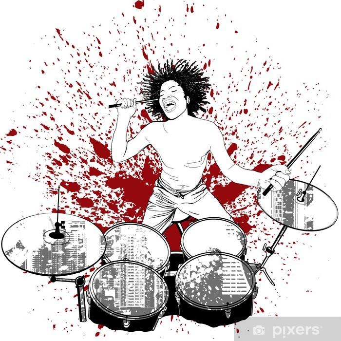 Vinyl-Fototapete Schlagzeuger auf Grunge-Hintergrund - Musik