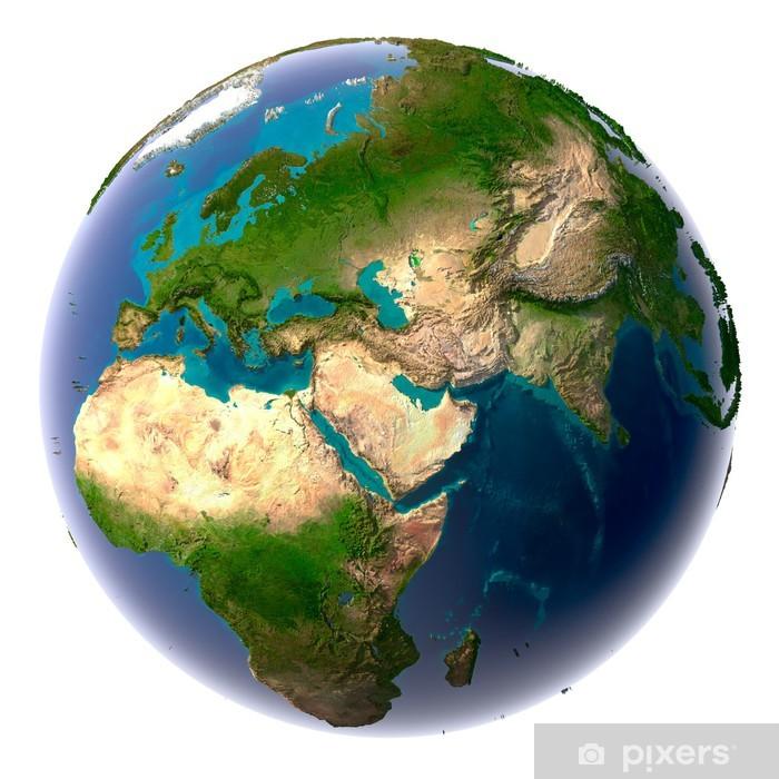 Fototapeta winylowa Realistyczne Planeta Ziemia z naturalnej wody - Przestrzeń kosmiczna