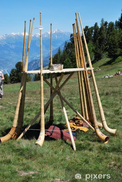 Alphörner beim Alphornbläserfestival in Nendaz Pixerstick Sticker - Other Feelings