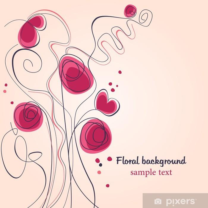 Papier peint vinyle Fleurs et des coeurs - Bonheur