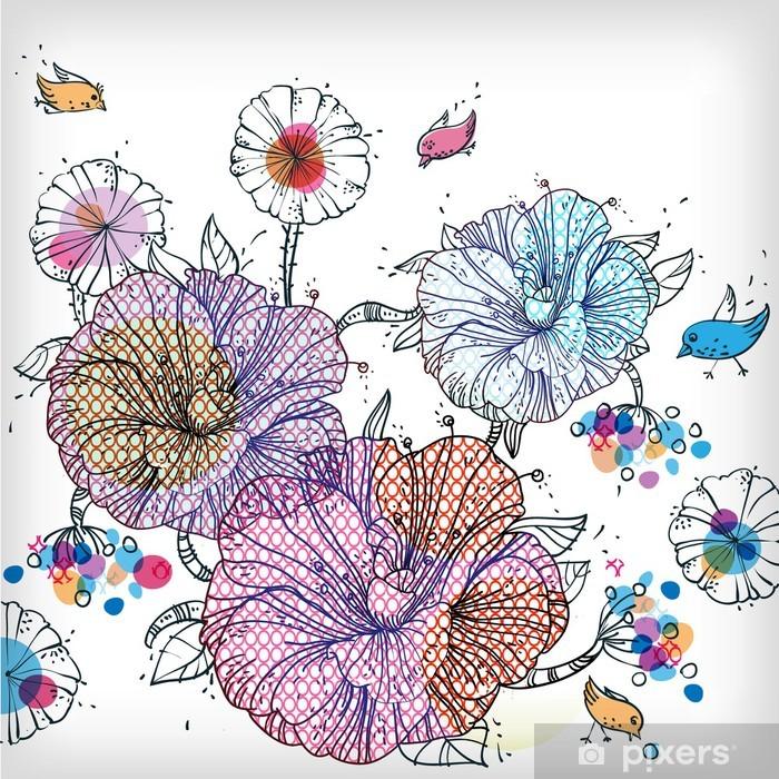Plakat Wektor tła z fantazji kwiatów, ptaków i jagody - Kwiaty