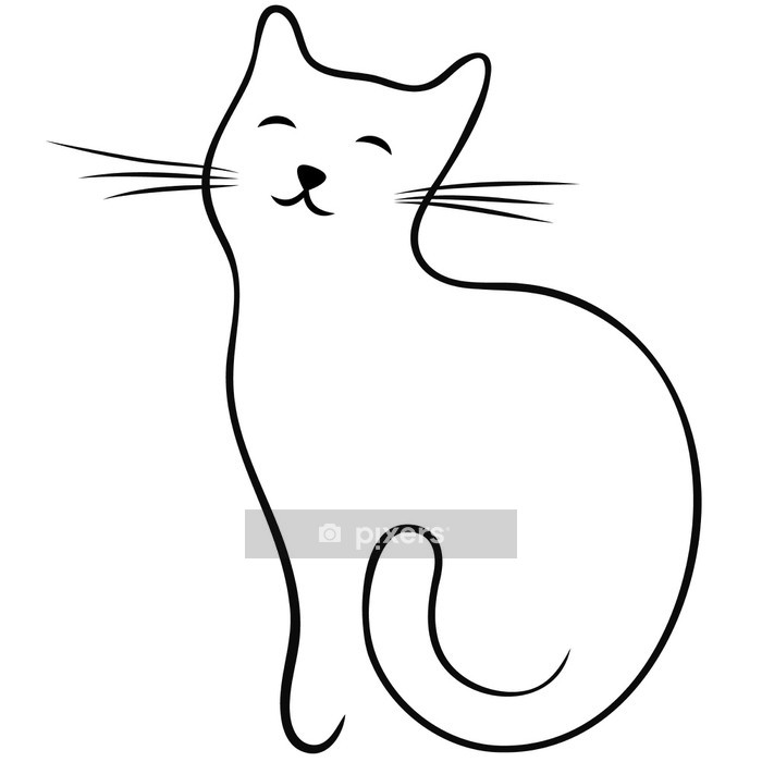 Muursticker Vector lijn kat - Zoogdieren