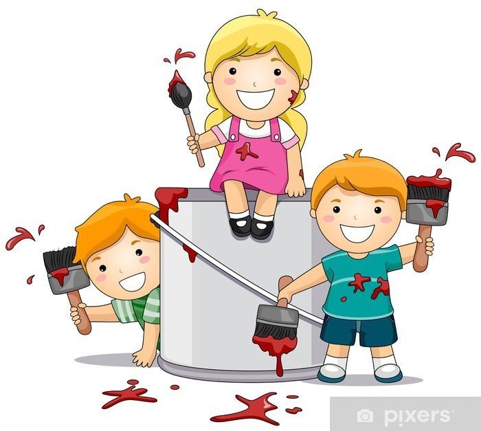 Pixerstick-klistremerke Barn leker med maling • Pixers® - Vi lever for forandring