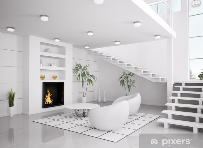 Fototapete Weisses Wohnzimmer mit Kamin interior 3d render